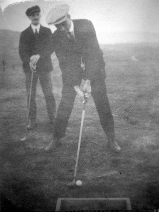 Unknown golfers on 1st tee  - 1921
